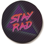 Stay Rad Tire Cover on Black Vinyl