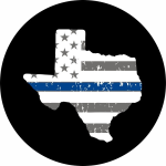 Texas Thin Blue Line Spare Tire Cover on Black Vinyl