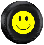 Happy Face Yellow Tire Cover on Black Vinyl