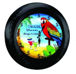 Its 5 O'clock Somewhere Bird in Paradise Tire Cover on Black