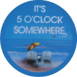 It's 5 O'clock Somewhere Blue Spare Tire Cover on Black Vinyl