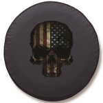 American Flag Skull Tire Cover on Black Vinyl