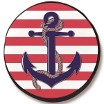 Anchor with Stripes Tire Cover on Black Vinyl
