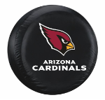 Arizona Tire Cover with Cardinals Logo on Black Vinyl - Large