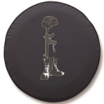Battlefield Cross Tire Cover on Black Vinyl