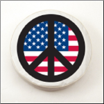 USA Peace Sign Tire Cover on Black Logo on White Vinyl