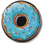 Blue Sprinkle Doughnut Tire Cover on Black Vinyl