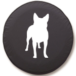 Cattle Dog Silhouette Tire Cover on Black Vinyl