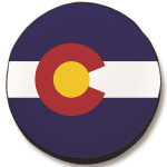 Colorado Flag Closeup Tire Cover on Black Vinyl