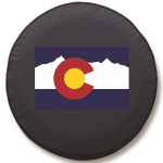 Colorado Mountain Flag Tire Cover on Black Vinyl