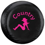 Country Girl Tire Cover with Pink Image on Black Vinyl