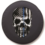 Back the Blue Skull Tire Cover