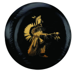 Dancing Indian Tire Cover on Black Vinyl