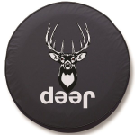Deer Hunting Jeep Tire Cover on Black Vinyl