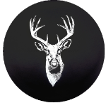 Deer Buck Hunting Tire Cover on Black Vinyl