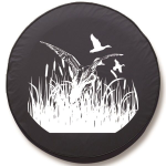 Ducks in Flight Tire Cover on Black Vinyl