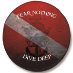 Fear Nothing Dive Deep Tire Cover on Black Vinyl
