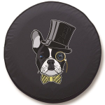 French Bulldog Top Hat Tire Cover on Black Vinyl