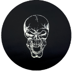 Skull Tire Cover on Black Vinyl