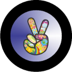 Hippie Peace Sign Tire Cover Blue on Black Vinyl