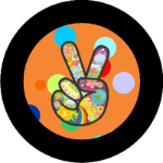 Hippie Peace Sign Tire Cover Orange on Black Vinyl