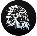 Indian Chief Spare Tire Cover on Black Vinyl