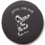 Join or Die Tire Cover on Black Vinyl