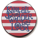 Knot All Who Wander are Lost Stripes Tire Cover on Black Vinyl