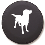 Labrador Retriever Silhouette Tire Cover on Black Vinyl