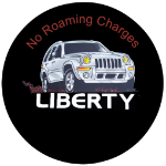 No Roaming Charges Jeep Liberty Tire Cover on Black Vinyl