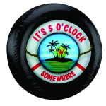 It's 5 O'clock Somewhere Lifesaver Spare Tire Cover on Black