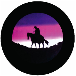 Lonesome Cowboy Tire Cover on Black Vinyl