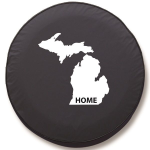 Michigan Home Tire Cover on Black Vinyl