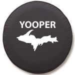 Michigan Yooper White Tire Cover - Black Vinyl
