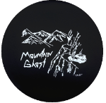 Mountain Ghost Tire Cover on Black Vinyl
