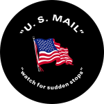 US Mail Flag Tire Cover on Black Vinyl