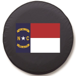 North Carolina State Flag Tire Cover on Black Vinyl