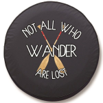 Not All Who Wander are Lost Tire Cover on Black Vinyl