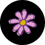 Pink Flower Tire Cover on Black Vinyl