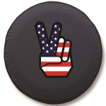 Patriotic Peace Sign Tire Cover on Black Vinyl