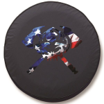 Patriotic Skull Firefighter Axes Tire Cover on Black Vinyl