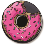 Pink Jelly Filled Doughnut Tire Cover on Black Vinyl