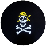 Pirate Skull and Crossbones Tire Cover on Black Vinyl