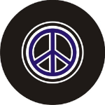 Purple Peace Sign Tire Cover on Black Vinyl