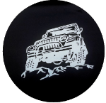 Rough Wrangler Tire Cover on Black Vinyl