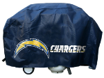 Los Angeles Grill Cover with Chargers Logo on Black Vinyl - Deluxe