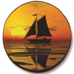 Sailboat and Sunset Tire Cover on Black Vinyl