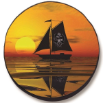 Sailboat and Sunset with Pirate Tire Cover on Black Vinyl