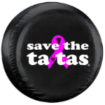 Save the Ta-tas Tire Cover on Black Vinyl