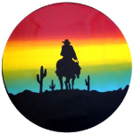 Sunset Cowboy Tire Cover on Black Vinyl